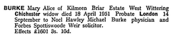 Mary Alice Burke - death date - April 18 1951