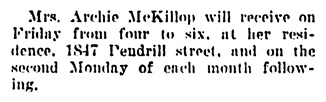 Mrs Archie McKillop - 1847 Pendrell Street - Vancouver Daily World - September 20 1906 - page 7 - column 6