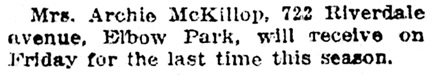 Mrs Archie McKillop - 722 Riverdale Avenue - Calgary Herald - March 4 1914 - page 8 - column 1