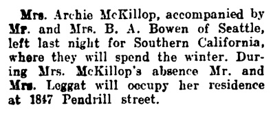 Mrs Archie McKillop - to California - Vancouver Daily World - December 5 1908 - page 14 - column 4