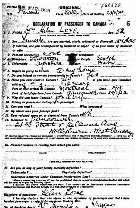 Mrs Helen Love - date of arrival - June 1924 - port of arrival - Quebec
