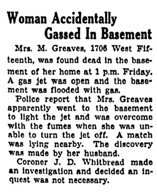 Mrs M Greaves - death - Vancouver Province - June 13 1936 - page 36 - column 2