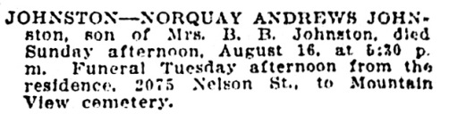 Norquay Andrews Johnston - death notice - Vancouver Sun - August 17 1914 - page 12 - column 2