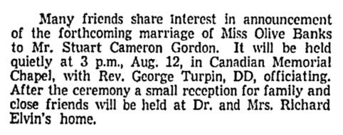 Olive Banks and Stuart Cameron Gordon - marriage announcement - Vancouver Sun - July 24 1959 - page 50 - columns 1-2