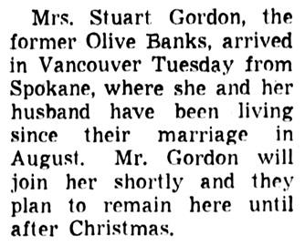 Olive Banks and Stuart Gordon - in Spokane - Vancouver Sun - October 16 1959 - page 59 - column 6