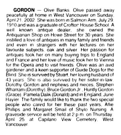Olive Banks Gordon - death notice - Vancouver Sun - April 24 2002 - page B13 - column 2
