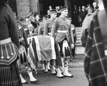 Pall bearers with the casket of General Stewart leaving St. John's United Church - September 28 1938 - Vancouver City Archives - Port P829-1