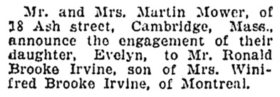 Ronald Brooke Irvine and Evelyn Mower - engagement - Montreal Gazette - September 21 1933 - page 8 - column 1