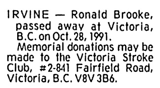 Ronald Brooke Irvine - death notice - Victoria Times Colonist - October 30 1991 - page D3 - column 3