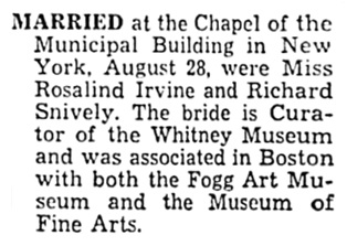 Rosalind Irvine and Richard Snively - marriage - Boston Globe - September 2 1959 - page 16 - column 4