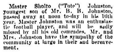 Sholto Johnston - death - Vancouver Daily World - April 16 1903 - page 8 - column 4