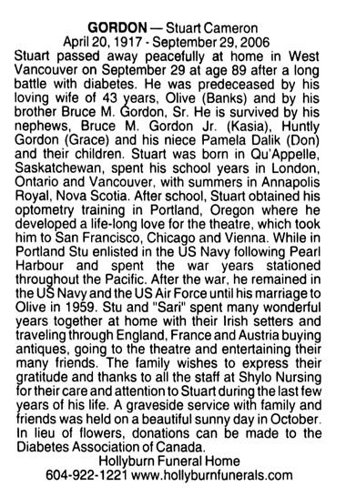 Stuart Cameron Gordon - death notice - Vancouver Province - November 19 2006 - page F14 - column 3
