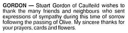 Stuart Gordon - card of thanks - Olive Gordon - Vancouver Sun - May 24 2002 - page B7 - column 4