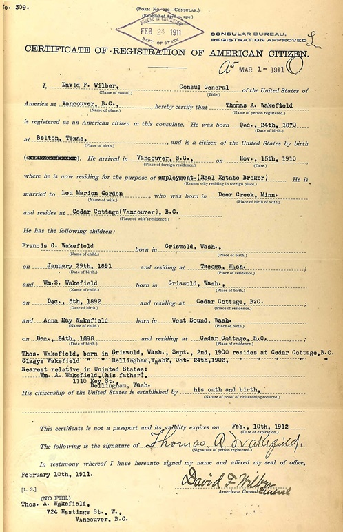 Thomas A Wakefield - registration of American citizen - Vancouver - 1911