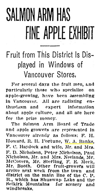 W A Banks - apple producers from Salmon Arm - Vancouver Province - October 29 1910 - page 13 - column 4