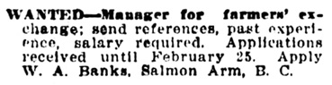 W A Banks - manager - farmers exchange - Salmon Arm - Vancouver Daily World - February 5 1908 - page 17 - column 1