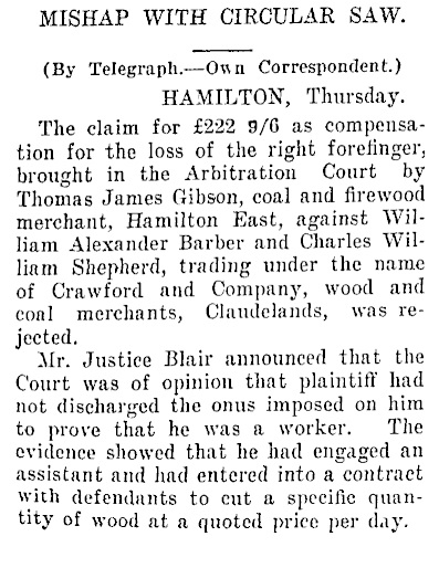 William Alexander Barber - defendant in action - industrial accident - Auckland Star - September 20 1929 - page 8