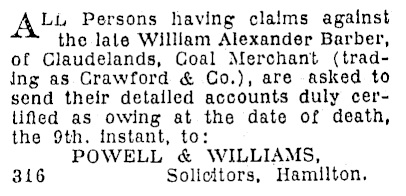 William Alexander Barber - estate - notice to prove claims - Waikato Times - January 21 1933 - page 2