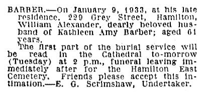 William Alexander Barbert - death notice - Waikato Times - January 9 1933 - page 6