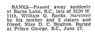 William Q Banks - death notice - Vancouver Sun - June 18 1957 - page 24 - column 3