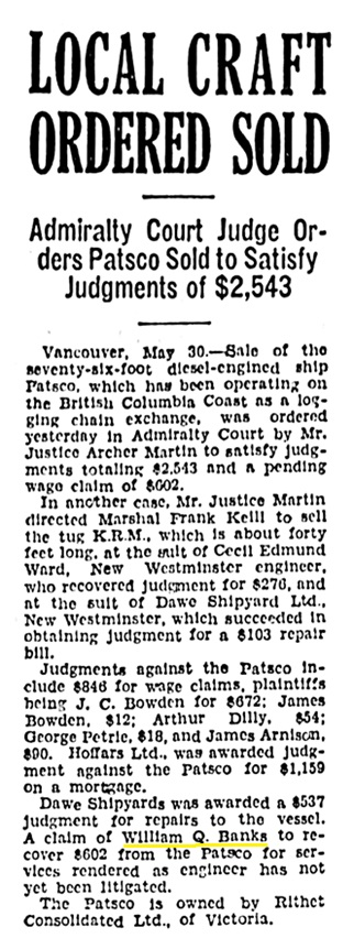 William Q Banks - wage claim against ship - Victoria Daily Times - May 30 1935 - page 12 - column 1