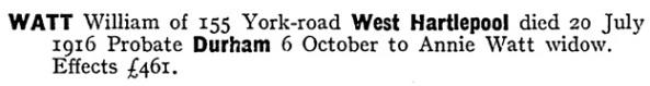 William Watt - death date - July 20 1916
