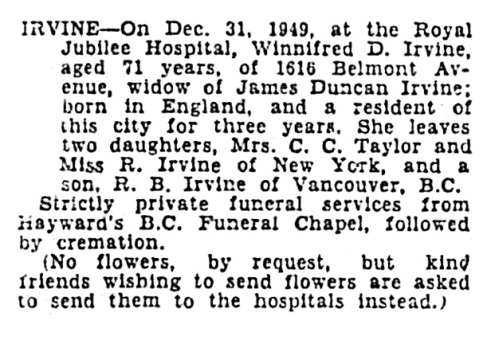 Winifred D Irvine - death notice - Victoria Daily Times - January 3 1950 - page 14 - column 1