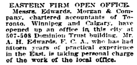 A H Edwards - Edwards Morgan and Company - accountants - Vancouver Province - December 13 1911 - page 32 - column 4