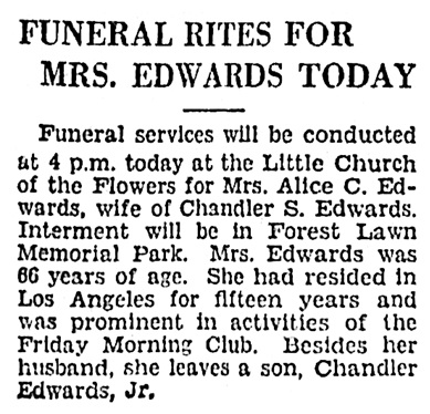 Alice C Edwards - funeral notice - Los Angeles Times - October 9 1929 - page 31 - column 4