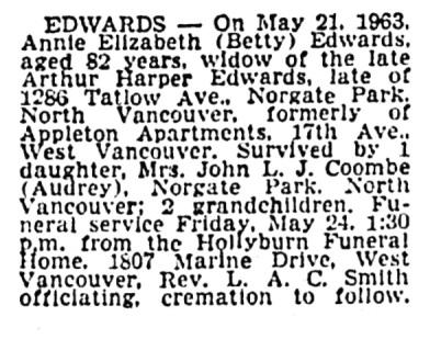 Annie Elizabeth Edwards - death notice - Vancouver Sun - May 22 1963 - page 38 - column 3