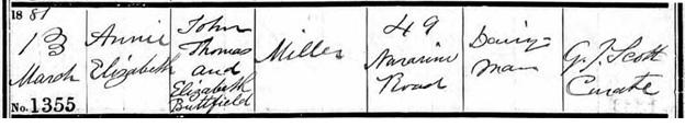 Annie Elizabeth Miller - baptism date - March 13 1881