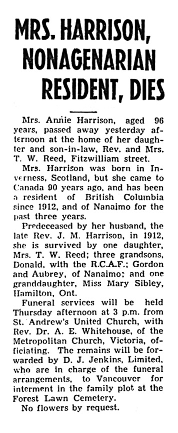 Annie Harrison - obituary - Nanaimo Daily News - September 1 1942 - page 1 - column 2