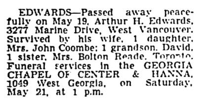 Arthur H Edwards - death notice - Vancouver Sun - May 20 1949 - page 34 - column 1