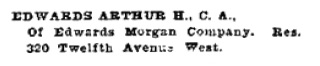 Arthur H Edwards - Henderson's Calgary directory - 1910 - page 330