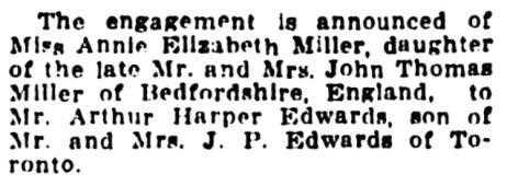 Arthur Harper Edwards and Annie Elizabeth Miller - engagement - Vancouver Province - August 23 1913 - page 8 - column 4