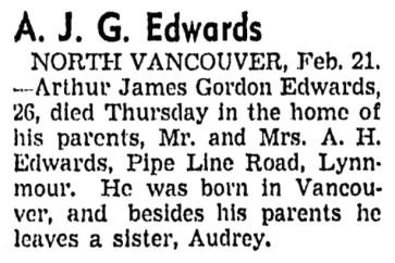 Arthur James Gordon Edwards - obituary - Vancouver Sun - February 21 1941 - page 15 - column 1