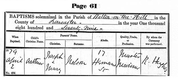 Arthur Nelson - baptism date - April 2 1879