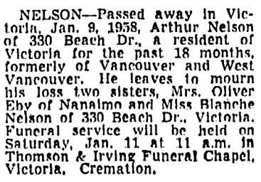 Arthur Nelson - death notice - Vancouver Sun - January 10 1958 - page 34 - column 3