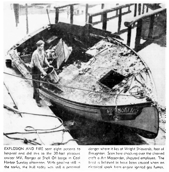 Arthur Nelson - MV Ranger - explosion and fire - Vancouver Province - July 10 1950 - page 1 - columns 1-4