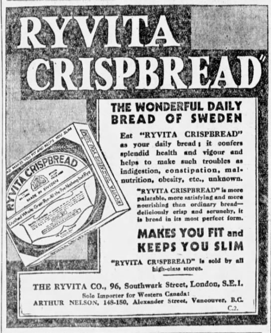 Arthur Nelson - Ryvita Crispbread - Vancouver Sun - November 5 1929 - page 8 - columns 5-6