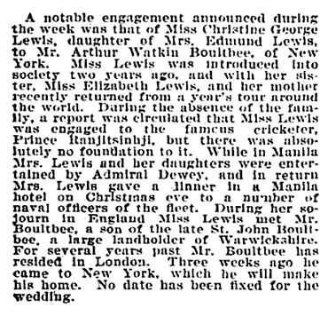 Arthur Watkin Boultbee and Christine George Lewis - engagement - Philadelphia Inquirer - November 5 1899 - page 32 - column 1