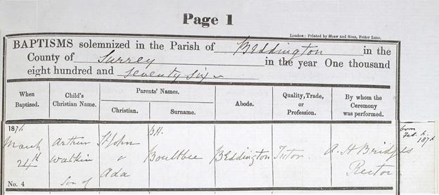 Arthur Watkin Boultbee - Baptism Date - March 24 1876