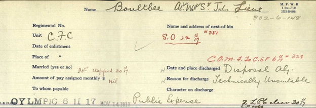 Arthur Watkin St John Boultbee - discharged from military forces - technically unsuitable