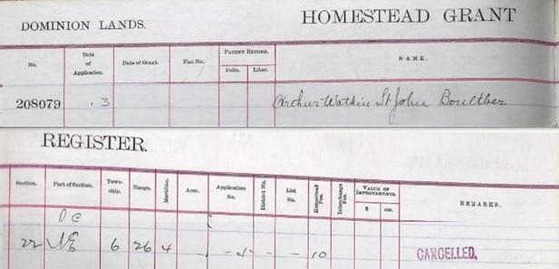 Arthur Watkin St John Boultber - Boultbee - homestead application - application date - November 3 1905