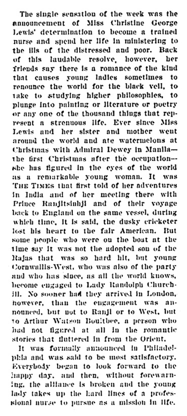 Arthur Watson - Watkin - Boultbee and Christine George Lewis - engagement over - The Times - Philadelphia - Pennsylvania - July 1 1900 - page 24 - column 1