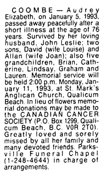 Audrey Elizabeth Coombe - death notice - Vancouver Sun - January 9 1993 - page F1 - column 4