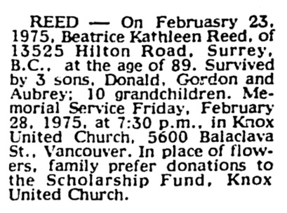 Beatrice Kathleen Reed - death notice - Vancouver Sun - February 24 1975 - page 33 - column 5