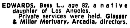 Los Angeles Times, November 2, 1961, page 95, column 5.