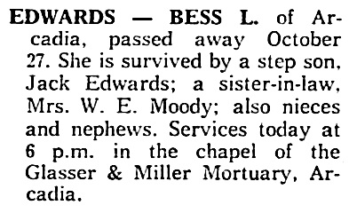 Bess S Edwards - death notice - Daily News-Post - Monrovia - California - October 28 1961 - page 3 - column 7