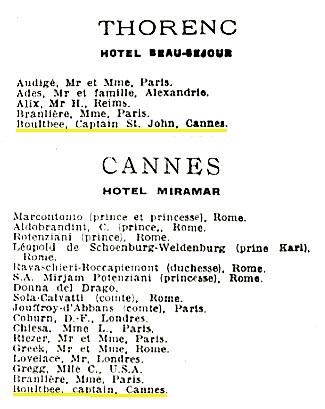 Captain Boultbee - Numéro L'Éclaireur du dimanche et La Vie pratique - Courrier des étrangers - November 30, 1930 - page 24 - column 3